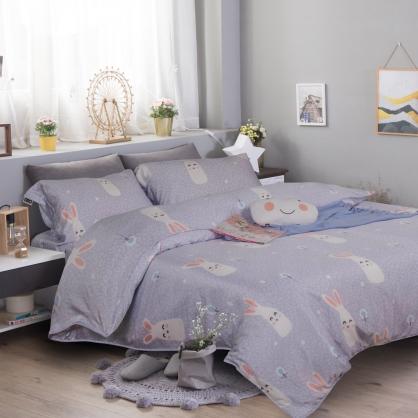 馨甜兔兔60支紗天絲兩用被鋪棉床包組-加大