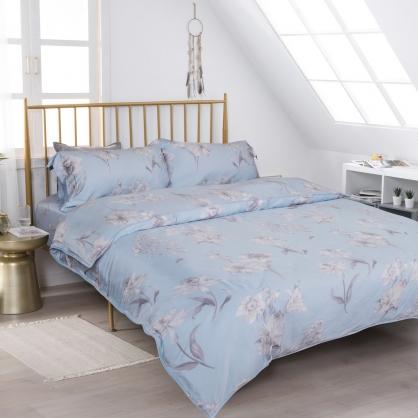 悠藍語花60支紗天絲兩用被鋪棉床包組-加大