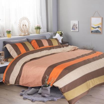 夏闌條紋匹馬棉四件式兩用被床包組-加大