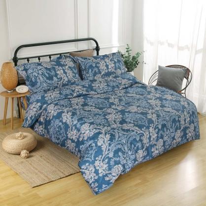 微藍緹花匹馬棉四件式兩用被鋪棉床包組-特大