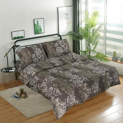綠緹時尚匹馬棉四件式兩用被鋪棉床包組-加大