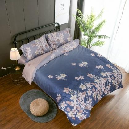 楚楚花語匹馬棉四件式兩用被鋪棉床包組-加大