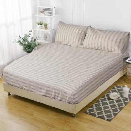 波點條紋韓國平紋棉鋪棉三件式床包組-加大
