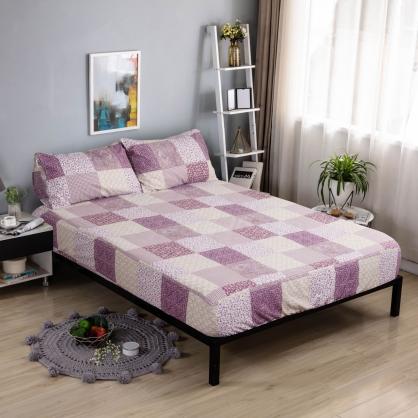 繁花似錦韓國平紋棉鋪棉三件式床包組-加大