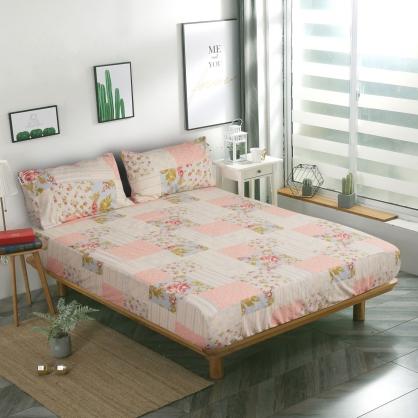 粉格子花韓國平紋棉鋪棉三件式床包組-特大