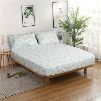 素淨花韻韓國平紋棉鋪棉三件式床包組-特大