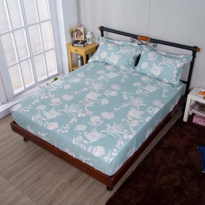 花漾年華埃及長纖細棉三件式床包組-特大