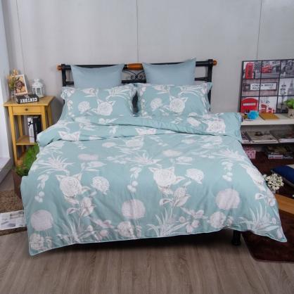 花漾年華埃及長纖細棉兩用被鋪棉床包組-特大