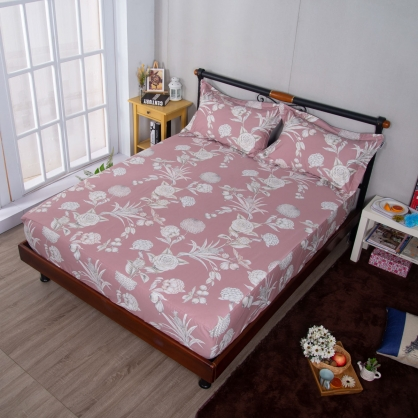 花月佳期埃及長纖細棉三件式床包組-特大