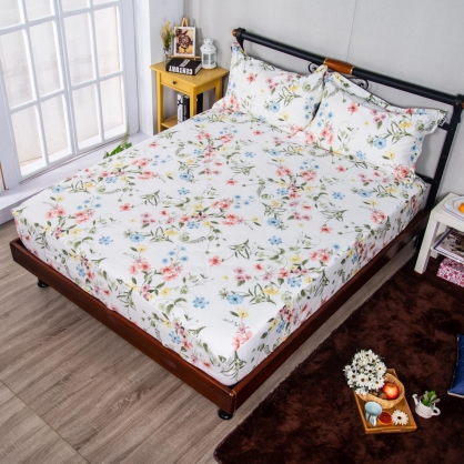淺夏花開埃及長纖細棉三件式床包組-特大
