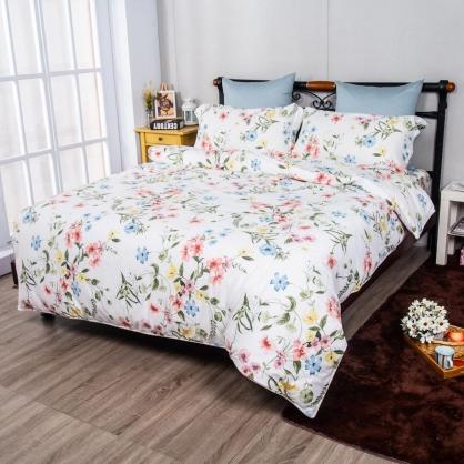 淺夏花開埃及長纖細棉兩用被鋪棉床包組-加大