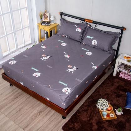 萌萌狗兒埃及長纖細棉三件式床包組-加大