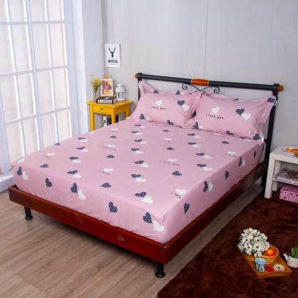 幻境愛心埃及長纖細棉三件式床包組-加大