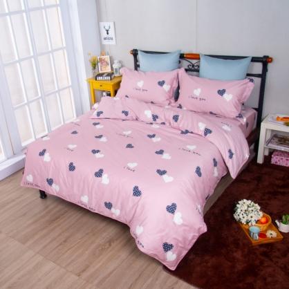 幻境愛心埃及長纖細棉兩用被鋪棉床包組-加大