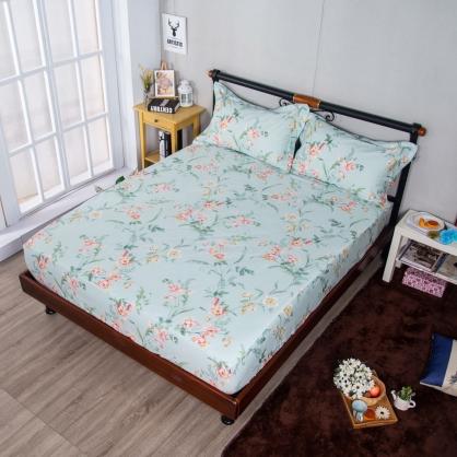 清新花香埃及長纖細棉三件式床包組-加大