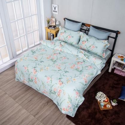 清新花香埃及長纖細棉兩用被鋪棉床包組-雙人