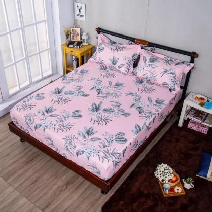 粉紅花延埃及長纖細棉三件式床包組-特大