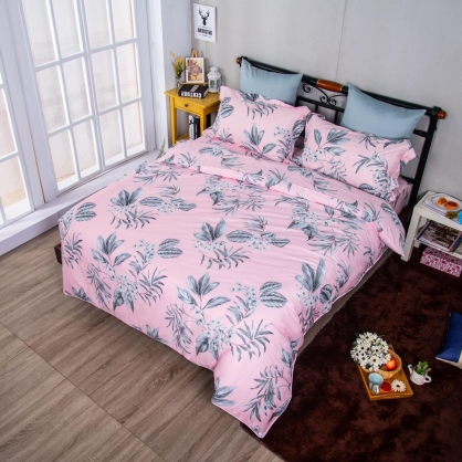 粉紅花延埃及長纖細棉兩用被鋪棉床包組-特大
