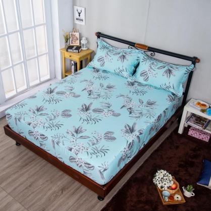 藍底花延埃及長纖細棉三件式床包組-雙人