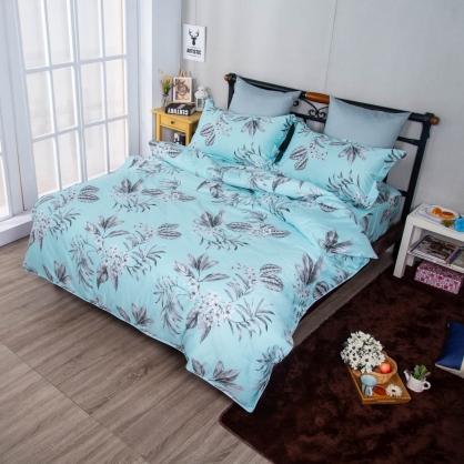 藍底花延埃及長纖細棉兩用被鋪棉床包組-雙人