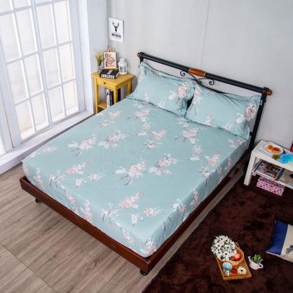 悠風花開埃及長纖細棉三件式床包組-雙人