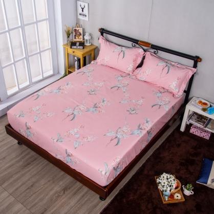 戀夏花季埃及長纖細棉三件式床包組-加大