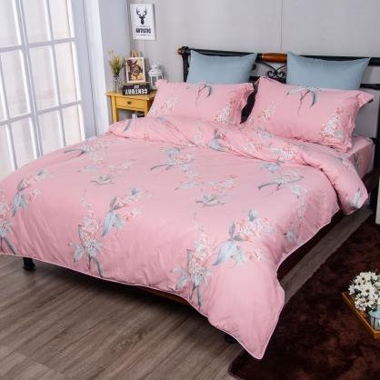 戀夏花季埃及長纖細棉兩用被鋪棉床包組-加大