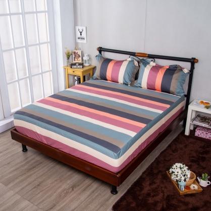 繽紛條紋埃及長纖細棉三件式床包組-特大