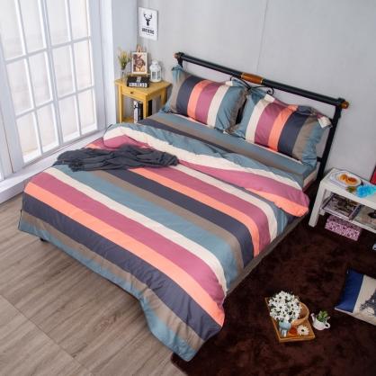 繽紛條紋 埃及長纖細棉兩用被鋪棉床包組-特大
