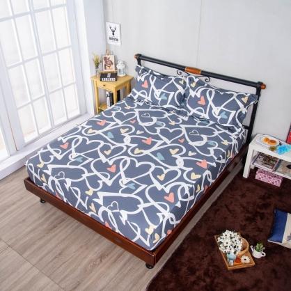 愛心旋律埃及長纖細棉三件式床包組-加大