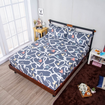 愛心旋律埃及長纖細棉三件式床包組-特大