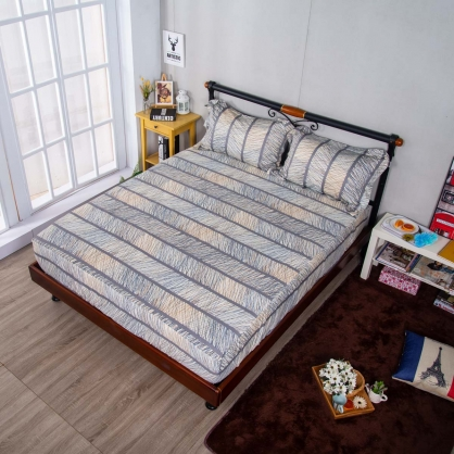 縱橫交織埃及長纖細棉三件式床包組-加大