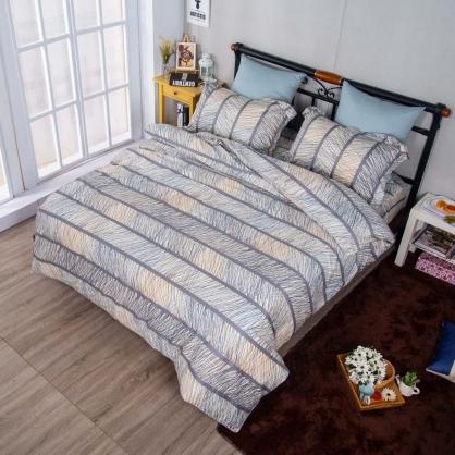 縱橫交織埃及長纖細棉兩用被鋪棉床包組-雙人