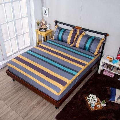 幻彩生活埃及長纖細棉三件式床包組-加大