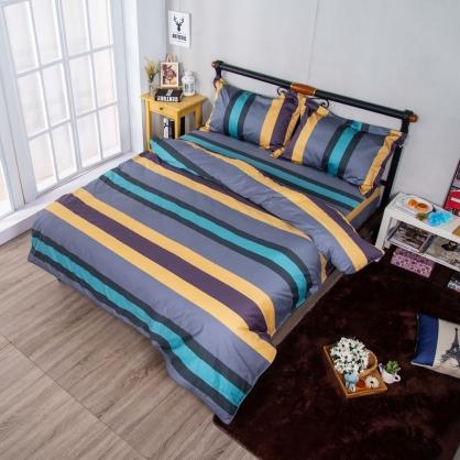 幻彩生活埃及長纖細棉兩用被鋪棉床包組-加大
