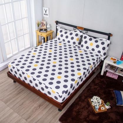 波點藝術埃及長纖細棉三件式床包組-雙人