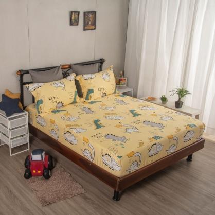 嗶嗶酷龍埃及長纖細棉三件式床包組-加大