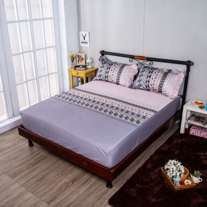 幾何米亞埃及長纖細棉三件式床包組-雙人