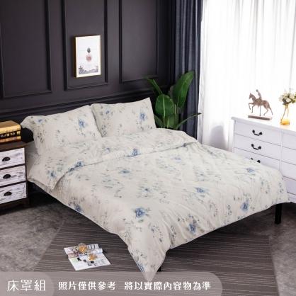 隨波藍蘭細棉天絲四件式床罩組-特大