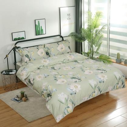 綠意盎然細棉天絲兩用被床包組-雙人
