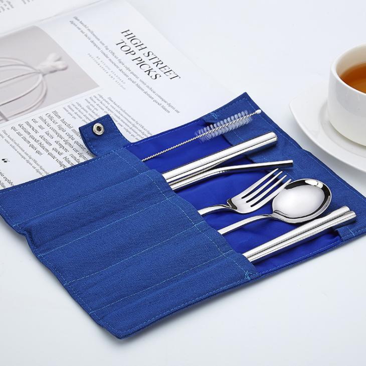 304不鏽鋼筷叉吸管七件布套組