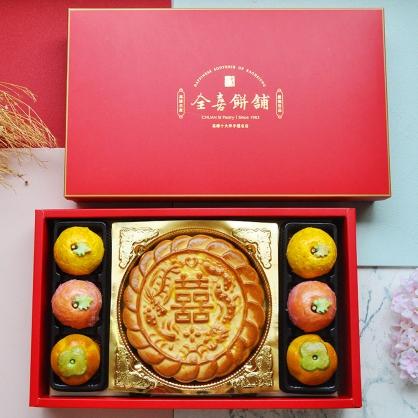 一斤大餅愛上平安如意綠豆椪喜餅組|手工中式漢餅系列